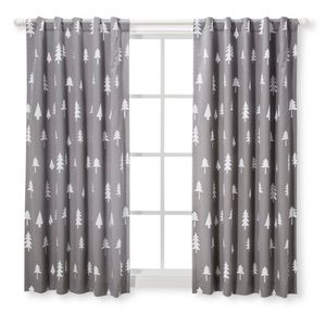 CLOUD ISLAND Blackout Grey Curtain Panel- Trees